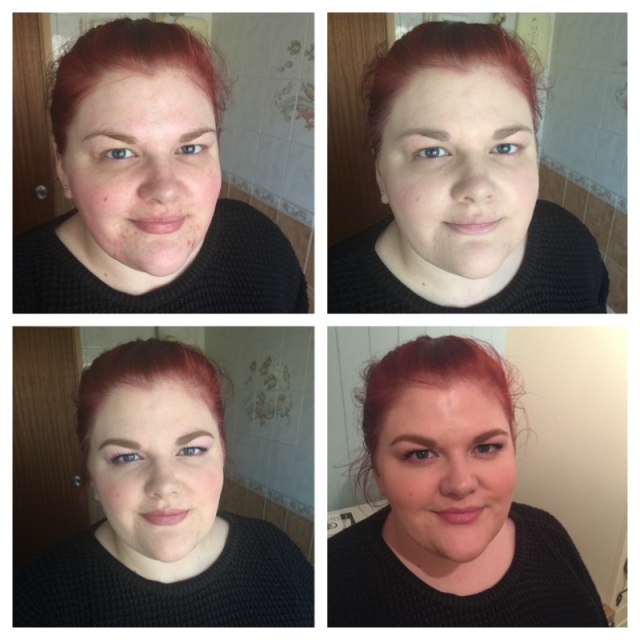 Top R-L - Before foundation, Foundation alone; Bottom R-L - Full face of makeup, After 6 hours wear and no touch ups